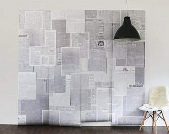 "Newspapers Wall Mural, Black and White Wallpaper, Vintage Newspapers - 100"" x 96"""