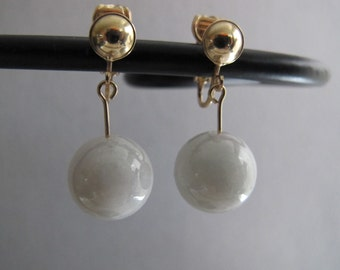 Non Pierced Natural Chinese Jade Earrings
