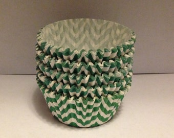 Clearance! 50 count - Greaseproof  Green chevron design standard size cupcake liners/baking cups