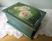 Custom Shabby Flower Victorian Keepsake Box - Holiday Gift - Girl Gift, Mother Gift - Handmade