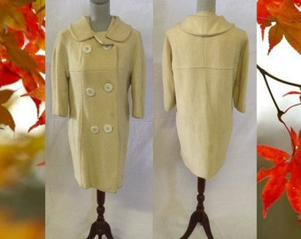 Vintage Women's Coat Mid Length Off White Double Breasted Coat No. 12