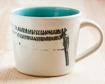 Made to Order : Set of 4 Porcelain Latte Mugs with a photo transfer of Birds on a Wire