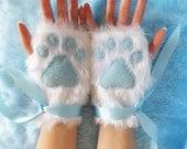 Cute White Furry Ice Blue Paws Arctic Cat Fox Wolf Polar Care Bear Paw Print Fingerless Gloves Wrist Warmers Kawaii Halloween Winter