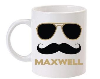 Mustache Mug, Mustache Gift Idea, Personalized Mug, Mustache Coffee Mug