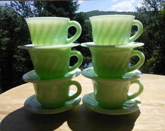6 place French mint green milk glass vintage coffee or tea set 1950s