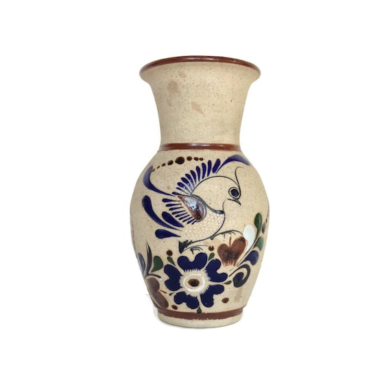Tonala vase vintage Mexican clay pottery bird and flower