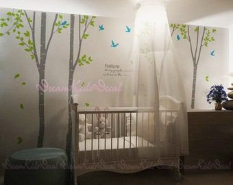 birch trees decals:wall decals, nature wall decals, vinyl wall decal, nature wall decal stickers, birch tree, nursery wall stickers-DK090