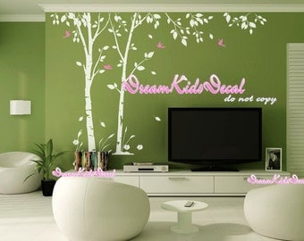 Birch trees decals, wall decals, nature wall decals, vinyl wall decal, nature wall decal stickers, birch tree, nursery wall stickers-DK156