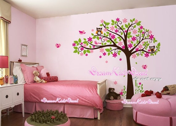 Cherry blossom tree wall decal baby nursery wall decals - Stickers geant chambre fille ...