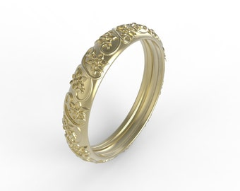yellow gold antique style wedding band,clasic design made for the woman who appreciates style