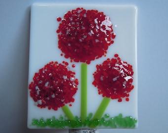 Fused Glass Red Frit Flower Night Light