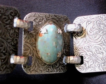 Retro Bohemian 1940s Turquoise Bold Silver Bracelet, Post Art Deco, Wide Stamped Silvertone, Unique Turquoise Bracelet