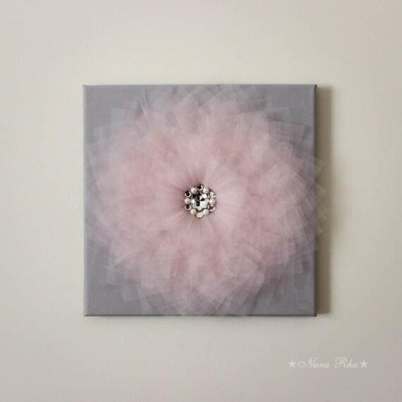 Flower wall art pink and gray flower decor home styling for Room decor embellishment art 3d