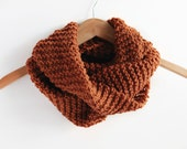 Orange Brown Cowl, Knit Infinity Scarf, Neck Warmer