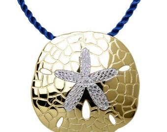 14K Two Tone Sand Dollar Pendant, Sand Dollar Pendant, Sand Dollar Jewelry, Sand, Dollar, Nautical Jewelry, Tropical Jewelry, Sand Dollar