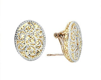 14k gold two tone mirrored french clip earrings.