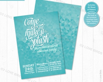Pool Party Printable Invitation