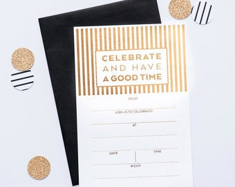 CELEBRATE STRIPE Fill-in GOLD Invitations