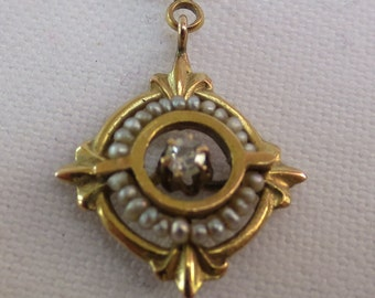 VICTORIAN LAVALIER PENDANT  1880'S    Gold Diamond and Pearls