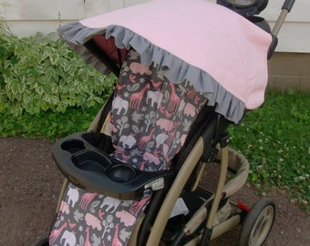 Custom stroller liner and canopy in Pink Zoology & Stroller canopy | Etsy