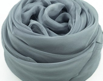Light Slate Gray Silk Chiffon Scarf - Light Steel Blue Silk Chiffon Scarf - AS215