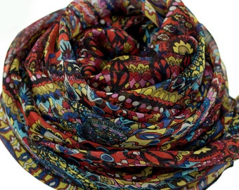 10% Off All Scarf Order > USD100 - Bohemian Style Print Silk Chiffon Scarf - Black Silk Scarf with Boho Style Print - AS241