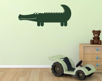 Crocodile Wall Sticker, Crocodile Wall Decal, Nursery Animal Wall Art, Jungle Wall Transfers - AN040