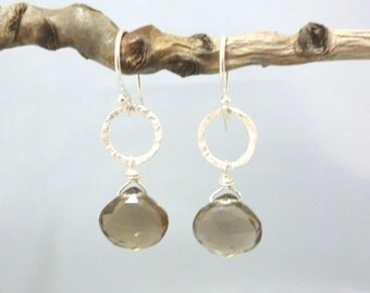 Textured sterling silver and faceted smokey quartz briolette earrings  ***SALE***
