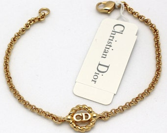 Christian Dior Symbol Bracelet Gold-Plated Chain with CD Monogram Center