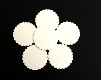 "Scalloped Circle die cuts,/white/ 50pc/ your choice of size, 1"",1.5"",2"",2.5"",3"", 3.5"", great for tags, scrapbooking, baby shower"