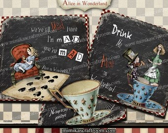 Alice in Wonderland Digital Collage Sheet, Magnets Images, Alice Printable download Greeting Cards Gift Tags Coasters graphics 4x4