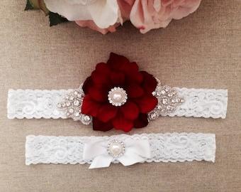 Red Flower Wedding Garter - Rhinestone Lace Garter Set - Pearl Garter - Toss Garter - Bridal Garter - Wedding Garter Belt - Keepsake Garter