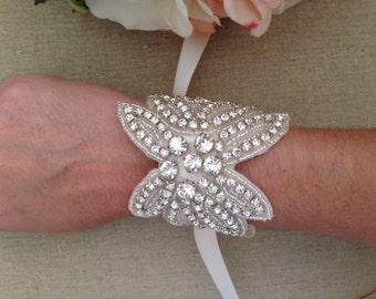 Bridal Bracelet - Couture Crystal Rhinestone and Pearl Bridal Bracelet - Bridal Cuff - Bouquet Wrap