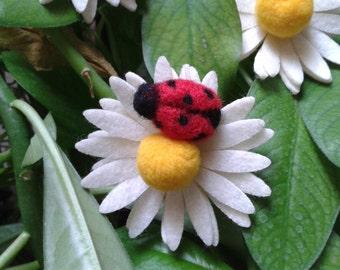 Ladybug needle felted handmade brooch.