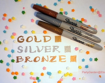 Bronze Gold Silver Sharpie Pen - Permanent Water Based Ink - Your Choice of Color