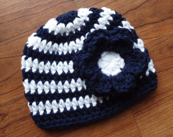Crocheted Navy Blue & White Striped Baby Girl Hat with Flower, Baby Shower Gift, Newborn Photo Prop - Newborn to 5T - MADE to ORDER