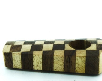 "Checkerboard Wood Smoking Pipe - Smoke Pipe + Free Brass Screens - 2"" pipe"
