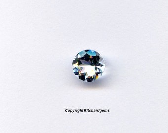 AAA 6 mm Semi Precious Faceted Round Brazilian Glacier Blue Aquamarine