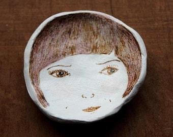 Illustrated Ceramic Face Dish- Brown Hair Bob Girl. Jewelry/Trinket Dish.