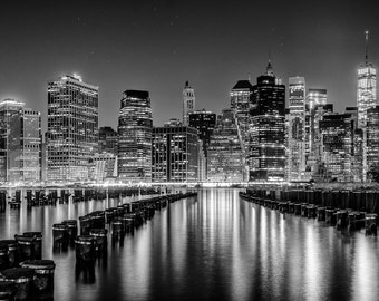 NYC Photography, Noir York City, Black & White, Fine Art Print, New York City, Urban, Large Wall Art Prints, NYC Wall Decor, Skyline, Lights
