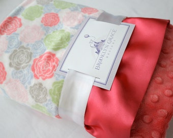 Cuddle Romance Rose Bloom in White with Coral Minky Dot and Coral Satin, Baby Shower, Newborn, Mint, Gray, Baby Pink, Baby Blue