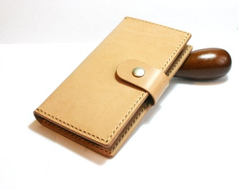 Vegetable tanned leather iPhone S6  wallet- Leather iPhone 6 Plus case- Handmade iPhone wallet