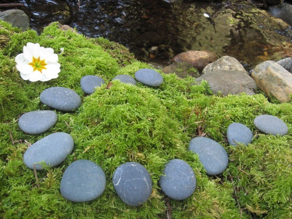 12 smooth flat river rocks for miniature garden stepping for Smooth river rocks for landscaping