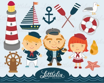 Let's sail the sea with sailors clipart set/ instant download - 13013
