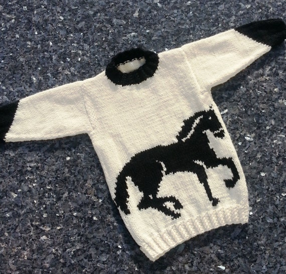 Horse Childs Sweater and Hat Aran Knitting Pattern, Horse Sweater and Ha...