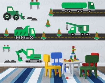 Construction Truck Decal - Fabric Wall Art - Children Wall Decals - Hard Hat Area Green - Repositionable Wall Decals