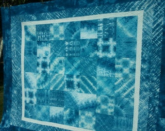 Blue Shibori Quilt, Hand Dyed Quilt, Sampler, Queen sized, 80 by 96 AMAZING COLOR!