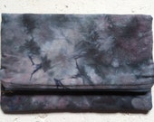 hand dyed plum & grey clutch bag foldover pouch