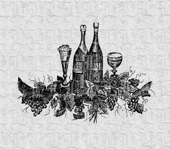 Wine Bottle Glasses Vintage Illustration Victorian Clip Art