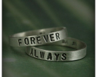 Always and Forever His and Hers Wedding Bands in Solid Sterling Silver--Custom Stamped and Sized Just for YOU--Wedding Ring Set